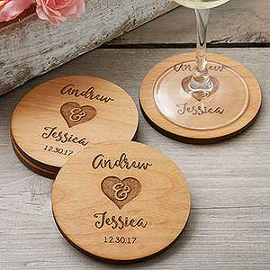 Rustic Wedding Party Favors Personalized Coasters