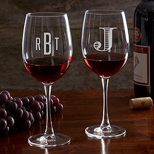 Personalized Monogram Red Wine Glass Classic