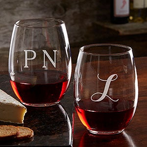 Personalized Classic Celebrations Monogram Stemless Wine