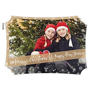 Personalized Gold Photo Christmas Cards - Golden Holidays - 17836