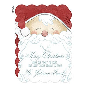 Personalized Jolly Santa Christmas Card - 17837