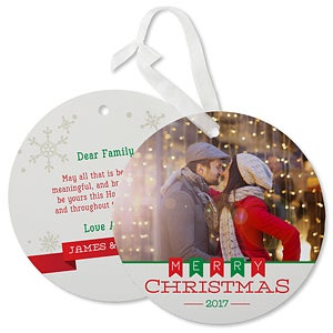 Personalized Hanging Photo Ornament Christmas Cards - Holiday Banner - 17842