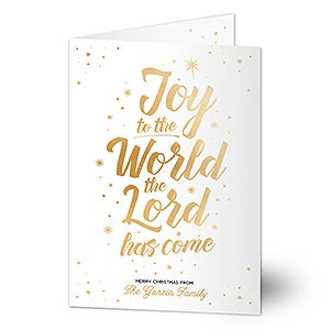 Personalized Christmas Cards - Joy To The World - 17844