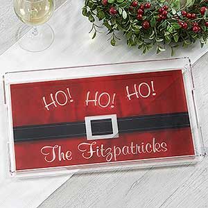 Personalized Christmas Serving Tray - Santa Belt - 17851