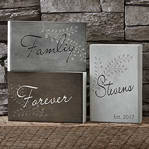 Personalized Elegant Decor Words Family Shelf Blocks Set - 17857