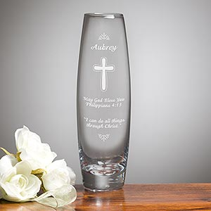 Personalized Etched Glass Vase - Blessings of Love - 17861