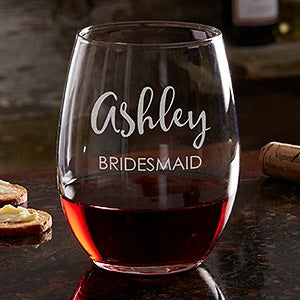 engraved stemless wine glass bridal party wedding gifts