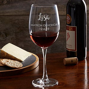 Engraved Red Wine Glass - Bridal Party - Wedding Gifts