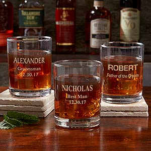Personalized Groomsmen Whiskey Glass - 17864