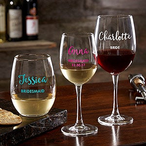 Personalized Colored Vinyl Wine Glass Collection - Bridal Party - 17865