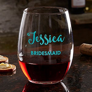 Personalized Colored Vinyl Bridal Party Stemless Wine