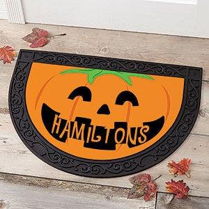 Personalized Halloween Half Round Doormat - Pumpkin - 17870