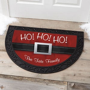 Personalized Holiday Half Round Doormat - Santa - 17873