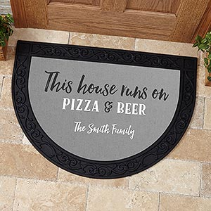 Personalized Half Round Doormat - This House Runs On... - 17875