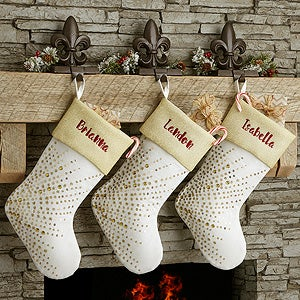 Personalized Gold Christmas Stockings - 17889