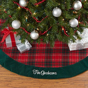 personalized holiday plaid christmas tree skirt