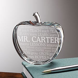 Crystal Apple Keepsake | Personalized Teacher Gifts - 17904