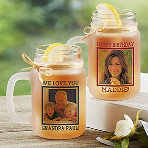 Personalized Photo Frosted Mason Jar - Photo Message - 17939