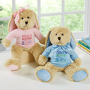 Baby's Birth Announcement Personalized Plush Bunny - 17954