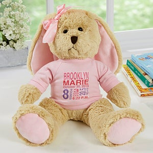 Baby girl birth announcement personalized bunny baby gifts all about baby personalized plush bunny pink negle Image collections