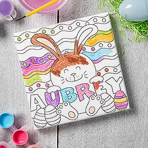 buy personalized coloring canvas prints for kids with the easter bunny add any name free personalization fast shipping