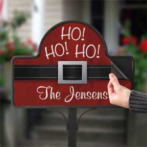 Personalized Ho Ho Ho Santa Belt Christmas Yard Stake - 17959