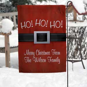 Personalized Christmas Santa Belt Garden Flag - Ho Ho Ho - 17960