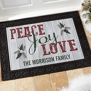 Personalized Peace, Love, Joy Doormats - 17965