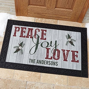 Personalized Peace, Love, Joy Doormats - 17965
