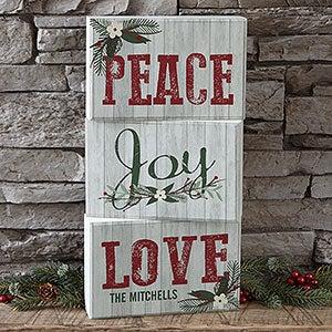 Personalized Wood Blocks - Peace, Love, Joy - 17966