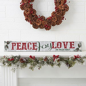 Personalized Wooden Sign - Peace, Joy, Love - 17968