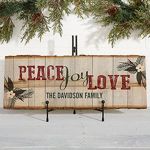 Peace Joy Love Personalized Wood Plank Sign - 17969