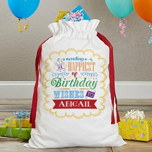 Birthday Toys Personalized Canvas Drawstring Toy Bag