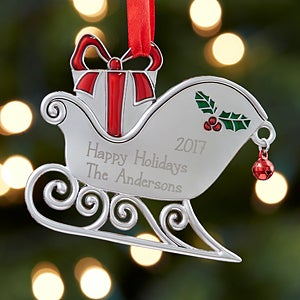 Personalized Metal Ornaments - Santa's Sleigh