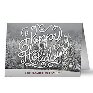 Personalized White Christmas Holiday Card - 17997