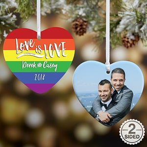Personalized Rainbow Christmas Ornament - Love Is Love - 18008