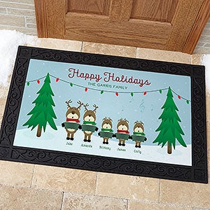 Reindeer Family Personalized Doormats - 18018