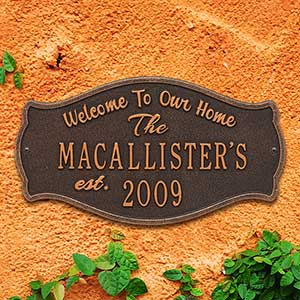 Personalized Welcome Home Plaque - 18029D