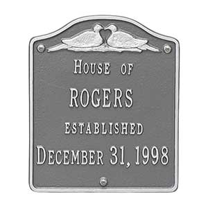 Personalized House Plaque – Wedding Doves - 18035D