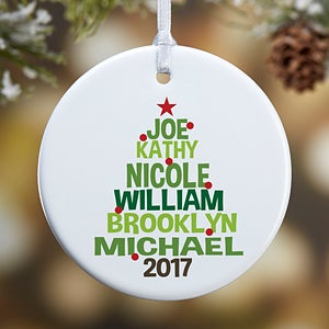 Personalized family tree ornament for christmas for Custom christmas tree ornaments