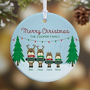 Personalized Family Christmas Ornament: Reindeer Characters - Christmas