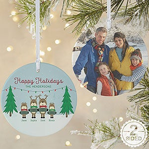 buy personalized reindeer family christmas ornaments add up to 6 names plus a greeting photo free personalization see more personalized christmas
