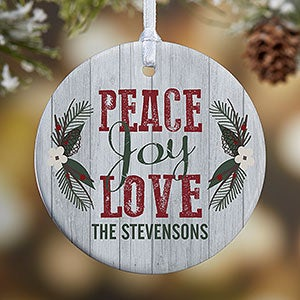 buy personalized rustic christmas ornaments with peace love joy and an option for photo free personalization see more personalized christmas ornaments