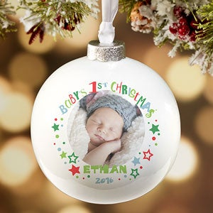 Personalized Babys First Christmas Photo Ornament
