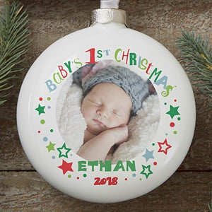 buy babys first christmas ornament and add a photo globe name and year free personalization see more personalized christmas ornaments at