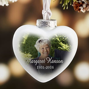 Memorial Photo Ornaments - Personalized Deluxe Heart - 18068