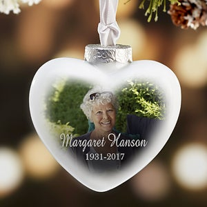 Memorial Photo Personalized Deluxe Heart Ornament - #18068
