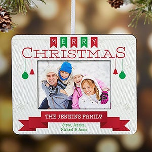 buy personalized picture frame ornament with our holiday banner design add your family name text free personalization see more personalized christmas - Mini Picture Frame Ornaments