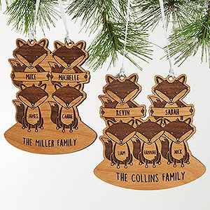 buy personalized family ornaments with our fox family design you can customize with individual family member names a holiday greeting and more