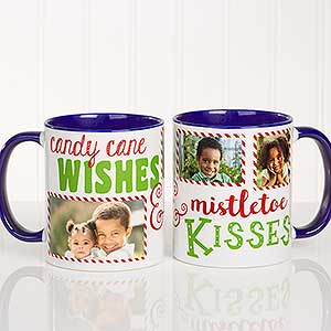 Christmas Photo Mugs - Candy Cane Wishes, Mistletoe Kisses - 18072